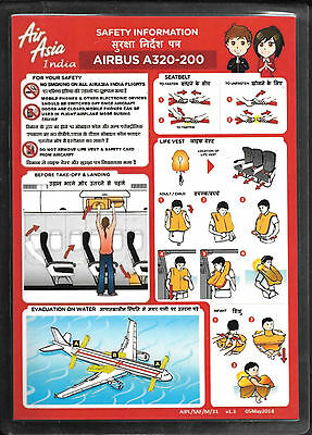 1 x AIR ASIA INDIA A320-200 SAFETY CARD *05/MAY/2014*