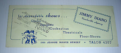 vintage VAUDEVILLE AGENCY ad blotter Jimmy Diano Montreal Canada early cent.