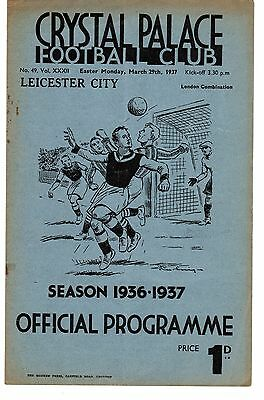 Crystal Palace v Leicester City Reserves Programme 29.3.1937