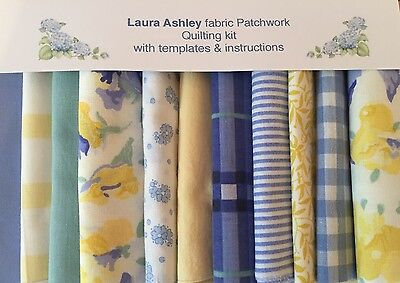 LAURA ASHLEY YELLOW SWEET PEA FABRIC 80 pce.PATCHWORK QUILTING KIT+iNSTRUCTIONS
