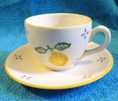 1997  Laura Ashley Spongeware Summer Fruits Tea Cup And Saucer Lemon