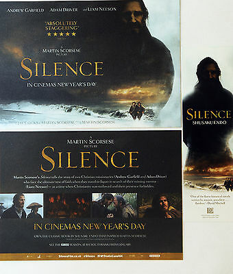2 X Silence Film Flyers & Bookmark Martin Scorsese Andrew Garfield Adam Driver