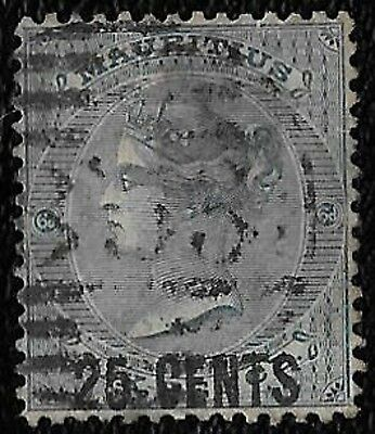 + 1878 Mauritius Island Indian Ocean Colony QV Surcharged #55 A9 25c on 6d used
