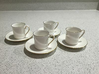 Queens China Coffee Cups & Saucers - Set of Four