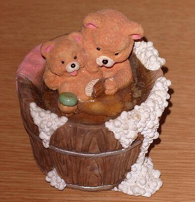 """""""Teds In The Tub"""" Collectable Teddy Bear Sculpture Academy Collectables Boxed"""