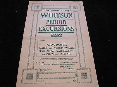 Gwr Whitsun Period Excursions 1930 Newport Valleys Area Handbill Booklet