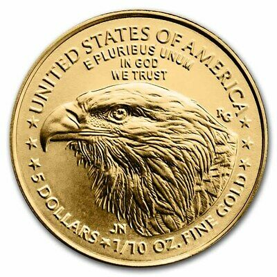 (Lot Of 10 For One Bid) Ch/gem Bu 2018 1/10Th Oz. $5 American Eagle Gold Coin