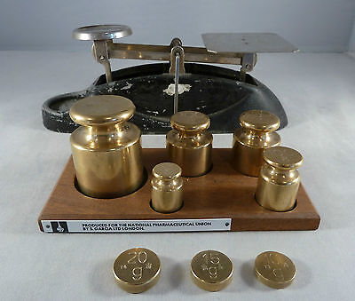 Vintage Set Of Scales And Solid Brass Churn Weights On Stand By S.garcia London