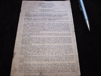 Signalling Notice Br Lmr Crewe Sorting Sidings North 1962 499G  Basford Hall