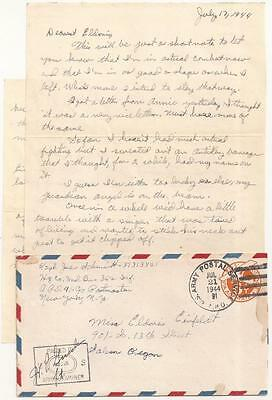 WWII Letter. 91st Infantry Division. Italy 1944.  In Combat. Shelling, Snipers.