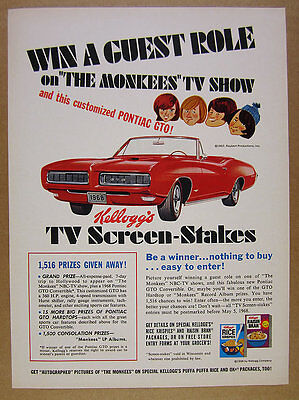 1968 Pontiac GTO Convertible MONKEES contest Kellogg's Cereal vintage print Ad