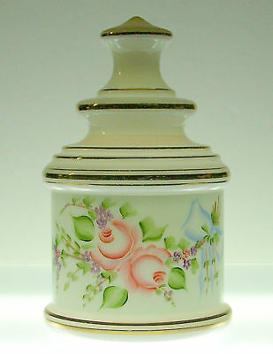 "English Bristol White Opal Hand Painted 9"" Biscuit Jar"