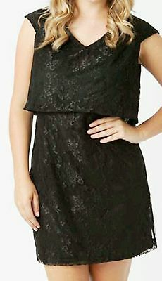 78633c971904 Simply Be Koko Plus Size 26 Black Floral Lace Layered DRESS Party Evening  £45