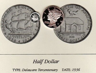1936 Delaware 50c Franklin Mint Miniature Silver Coin Cameo Proof