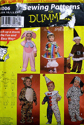 Simplicity Sewing for Dummies Toddlers Clown Dog Santa Costume Pattern 4006 UC