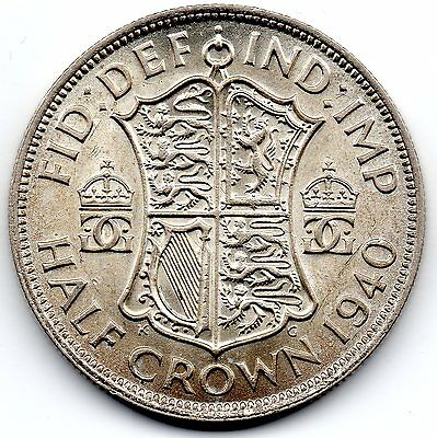 GEORGE VI 1940 Half Crown Silver Coin high collectable grade with lustre