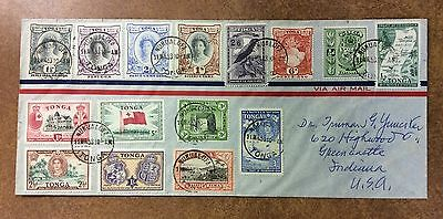 {BJ STAMPS} Tonga Sc 94-99 on 1953 cover w/ # 80, 81, and more to Indiana USA