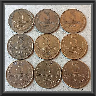 Russia Ussr 3 Kopeks-1969 To 1989  Lot Of 9 Circ Coins #5