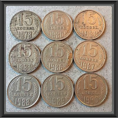 Russia Ussr 15 Kopeks-1978 To 1990  Lot Of 9 Circ Coins #4