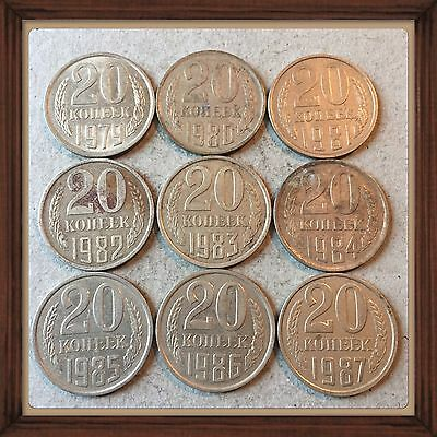 Russia Ussr 20 Kopeks-1979 To 1987  Lot Of 9 Circ Coins #3