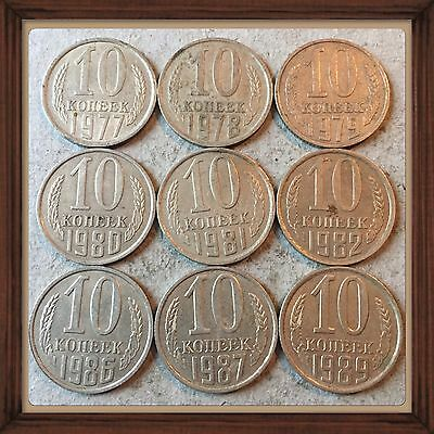 Russia Ussr 10 Kopeks-1977 To 1989  Lot Of 9 Circ Coins #2