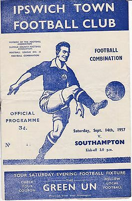 IPSWICH TOWN Res  v  SOUTHAMPTON Res  ( Comb )  1957/8.