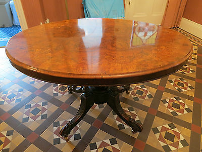 Beautiful Victorian Antique Oval Inlaid Table - Walnut top