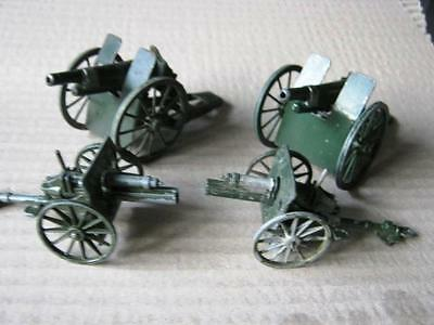 4 qty BRITAINS + OTHERS DIE-CAST SPOKED WHEELED  CANNONS - GOOD COND. NO BOXES