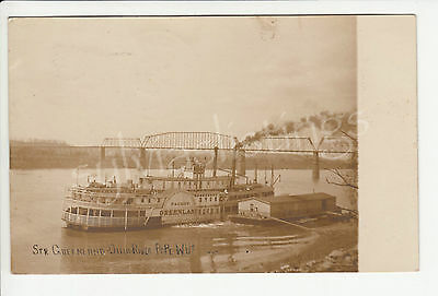 Steamer Greenland Ohio River Packet Boat Pt. Pleasant WV Old RPPC Postcard 1907