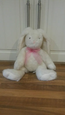 """15"""" Fluffy white RABBIT with pink bow & cute eyes & nose - new without labels"""