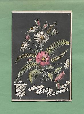 Art Deco WILDFLOWERS On WHITE SEWING MACHINES Victorian Trade Card--GENEVA, NY
