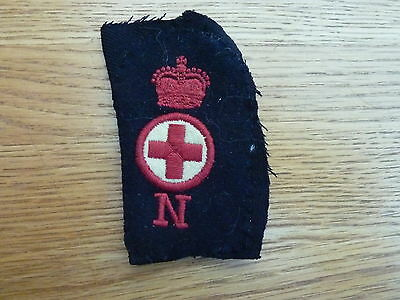 Vintage Original Material Red Cross Badge With Crown And Letter N - 4 Inch