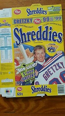 Post Shreddies Wayne Gretzky Canadian Cereal Flat Box Excellent Condition