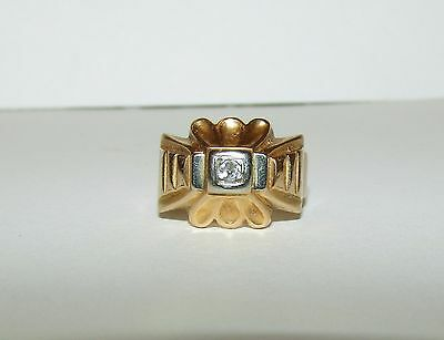 Splendid, Antique, Georgian, French 18 Ct Gold Ornate Ring With Natural Diamond