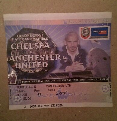 Chelsea vs Manchester United Charity Shield ticket - 13th August 2000 - Wembley
