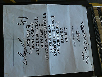 Elbow - Glastonbury Festival 2011 - Signed Original Setlist