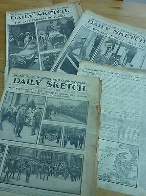 Ww1 1914 Daily Sketch Newspaper Original 4 X Part Issues Aug 24 - Oct 16