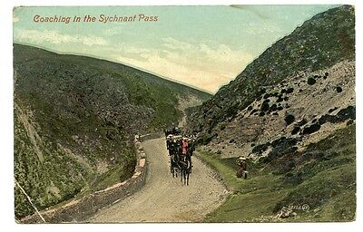 'coaching In The Sychnant Pass' 1909 Postcard, Penmaenmawr Rso Postmark.
