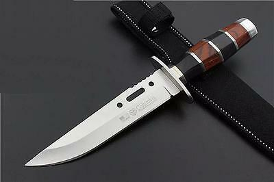 """10.1"""" Survival Bowie Collection Camping Hunting KNIFE Wood Handle Fixed Blade"""