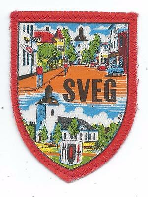 Sveg Härjedalen  Province Sweden Old Travel Souvenir Patch Church Main Street