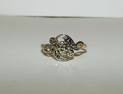 Beautiful, Antique, Georgian, French 18 Ct Yellow/white Gold Ornate Ring