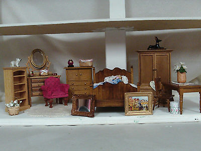 Dolls House 1/12th scale job lot pine bedroom furniture with accessories