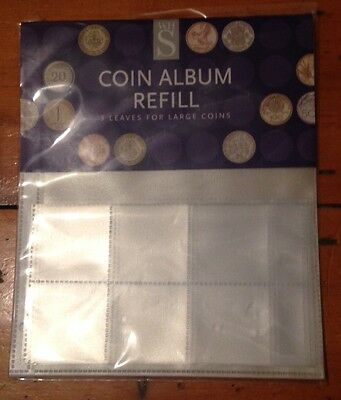 WH Smith Coin Album Refill sheets - new pack of 3 Large Coin sleeves