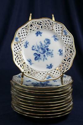 """Schumann Reticulated  Blue Roses  Heavy  Gold  8-1/2"""" Plate"""
