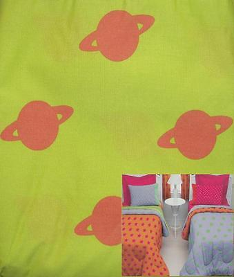 Little Miss Matched Planets Green Orange Queen Bed Skirt Bedding New.