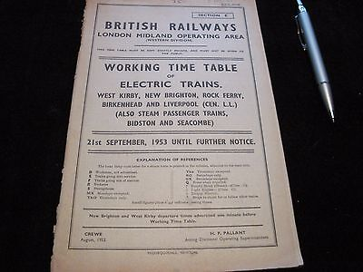 Br Lmr Working Timetable Electric Trains Liverpool Wirral Mersey Rly Sect E 1953