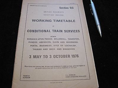 BR ScR WORKING TIMETABLE CONDITIONAL BERWICK ABERDEEN FAR NORTH  SECT GG 1976