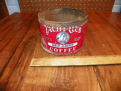 Vintage YACHT CLUB COFFEE 1 Lb. Tin - CONSOLIDATED FOODS CORP. - No Lid        +