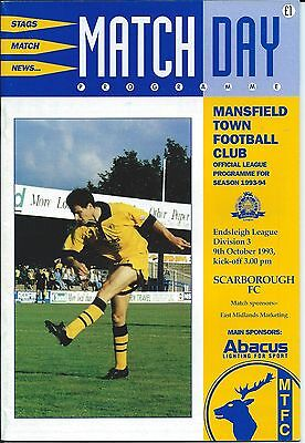 MANSFIELD TOWN v SCARBOROUGH - 9th October 1993