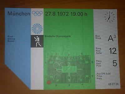 Ticket Olympic Games MÜNCHEN 1972 - BOXING 27.08.1972